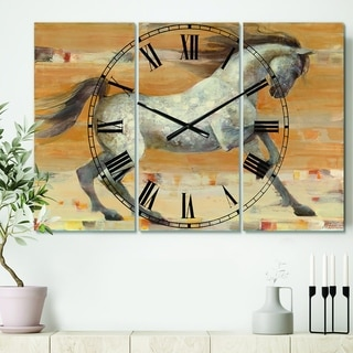 Designart 'southwest Beige Horse' Cottage 3 Panels Oversized Wall CLock - 36 in. wide x 28 in. high - 3 panels