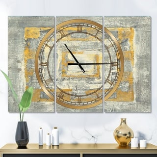 Designart 'Gold Glam on Grey Tapestry I' Glam 3 Panels Large Wall CLock - 36 in. wide x 28 in. high - 3 panels