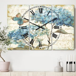 Designart 'butterfly Blue Garden II' Cottage 3 Panels Large Wall CLock - 36 in. wide x 28 in. high - 3 panels