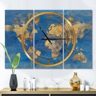 Designart 'Golden Glam World Map' Glam 3 Panels Oversized Wall CLock - 36 in. wide x 28 in. high - 3 panels
