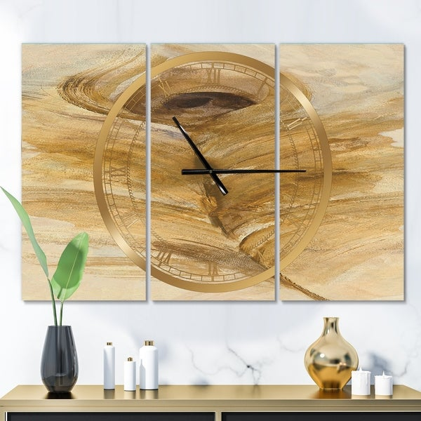 Designart 'Feather Natural elements I' Glam 3 Panels Large Wall CLock - 36 in. wide x 28 in. high - 3 panels