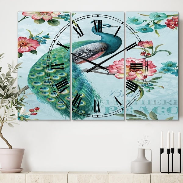 Designart 'Peacock' Cottage 3 Panels Large Wall CLock - 36 in. wide x 28 in. high - 3 panels