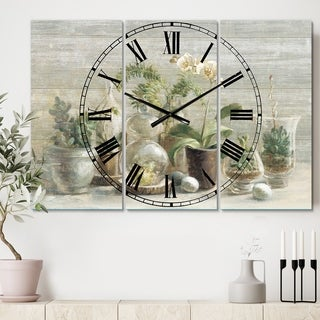 Designart 'Composition of Orchids' Cottage 3 Panels Oversized Wall CLock - 36 in. wide x 28 in. high - 3 panels