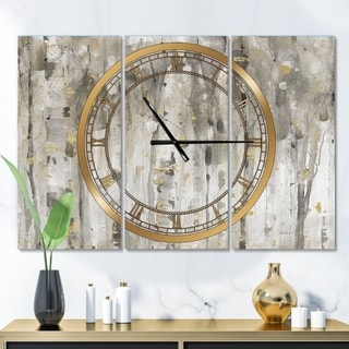 Designart 'The Modern Grey Forest III' Glam 3 Panels Oversized Wall CLock - 36 in. wide x 28 in. high - 3 panels