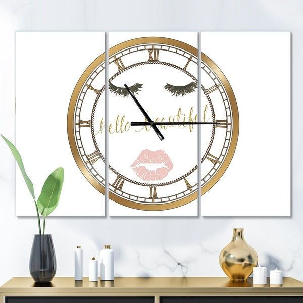 Designart 'fashion Glam Lips on Gold I' Glam 3 Panels Oversized Wall CLock - 36 in. wide x 28 in. high - 3 panels