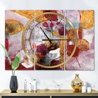 Designart 'Abstract Watercolor with Red and Yellow' Glam 3 Panels Oversized Wall CLock - 36 in. wide x 28 in. high - 3 panels