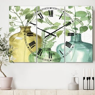 Designart 'Mixed Botanical Green Leaves IX' Cottage 3 Panels Oversized Wall CLock - 36 in. wide x 28 in. high - 3 panels