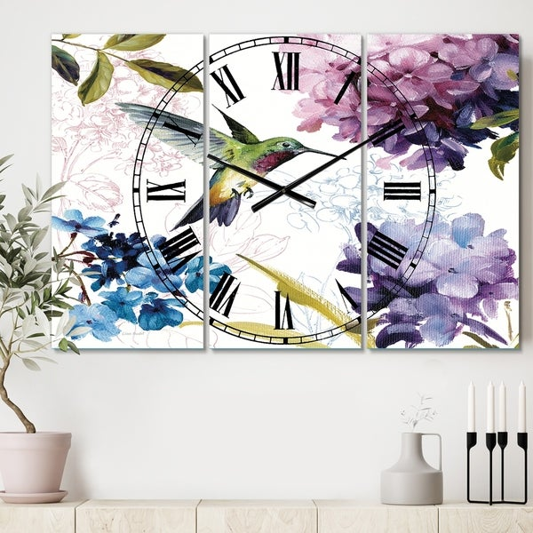 Designart 'Spring Nectar Square II' Cottage 3 Panels Oversized Wall CLock - 36 in. wide x 28 in. high - 3 panels