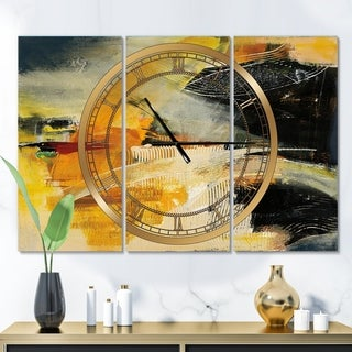 Designart 'End of the Orange Rainbow II' Glam 3 Panels Oversized Wall CLock - 36 in. wide x 28 in. high - 3 panels