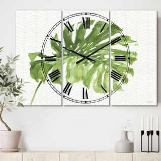 Designart 'Mixed Botanical Green Leaves V' Cottage 3 Panels Large Wall CLock - 36 in. wide x 28 in. high - 3 panels