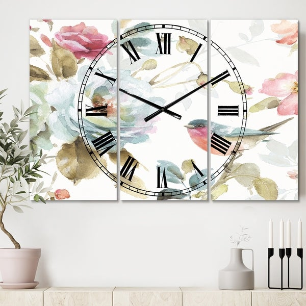 Designart 'Beautiful Bird Romance I' Cottage 3 Panels Oversized Wall CLock - 36 in. wide x 28 in. high - 3 panels