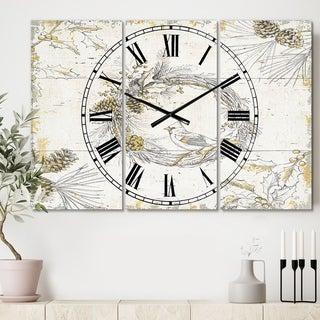 Designart 'Gold Beautiful cardinals' Cottage 3 Panels Large Wall CLock - 36 in. wide x 28 in. high - 3 panels
