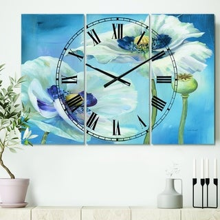 Designart 'White Flower on Blue I' Cottage 3 Panels Oversized Wall CLock - 36 in. wide x 28 in. high - 3 panels