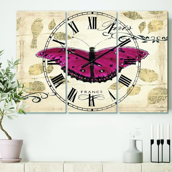 Designart 'Red Farmhouse Butterfly' Cottage 3 Panels Large Wall CLock - 36 in. wide x 28 in. high - 3 panels