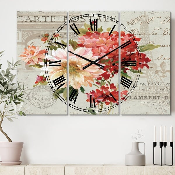 Designart 'Red Painted Flowers on Vintage Postcard I' Cottage 3 Panels Large Wall CLock - 36 in. wide x 28 in. high - 3 panels