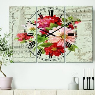 Designart 'Red Painted Flowers on Vintage Postcard II' Cottage 3 Panels Large Wall CLock - 36 in. wide x 28 in. high - 3 panels