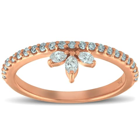 Pompeii3 14k Rose Gold 3/8 Ct T DW Marquise Diamond Stackable Womens Ring Anniversasry Band