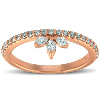 Bliss 14k Rose Gold 3/8 Ct T DW Marquise Diamond Stackable Womens Ring Anniversasry Band