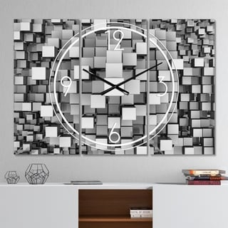 Designart 'Black and Grey Cubes' Modern 3 Panels Large Wall CLock - 36 in. wide x 28 in. high - 3 panels
