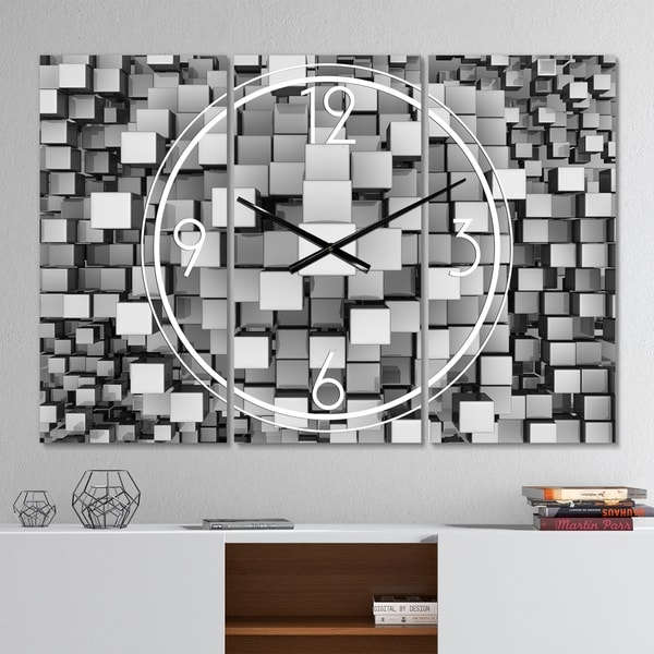 Designart 'Black and Grey Cubes' Modern 3 Panels Large Wall CLock - 36 in. wide x 28 in. high - 3 panels. Opens flyout.