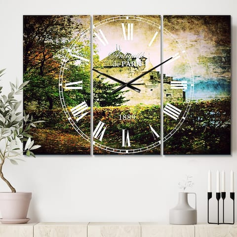 Designart 'Chillion Castle' Cottage 3 Panels Oversized Wall CLock - 36 in. wide x 28 in. high - 3 panels