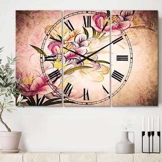 Designart 'Vector Purple Flowers' Cottage 3 Panels Large Wall CLock - 36 in. wide x 28 in. high - 3 panels