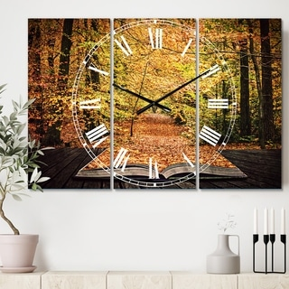 Designart 'Open Book in Autumn' Cottage 3 Panels Oversized Wall CLock - 36 in. wide x 28 in. high - 3 panels