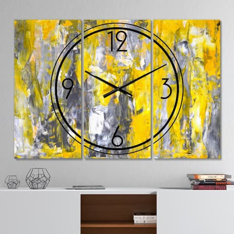 Designart 'Grey and Yellow Abstract Pattern' Modern 3 Panels Oversized Wall CLock - 36 in. wide x 28 in. high - 3 panels