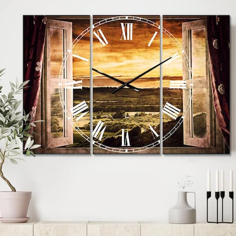 Designart 'Open Window to Rural Landscape' Cottage 3 Panels Oversized Wall CLock - 36 in. wide x 28 in. high - 3 panels