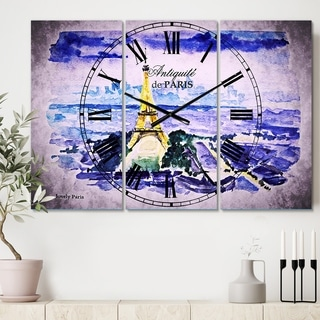 Designart 'Paris Eiffel Toweron Blue Background' Cottage 3 Panels Oversized Wall CLock - 36 in. wide x 28 in. high - 3 panels