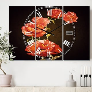 Designart 'Bright Poppies Flower' Cottage 3 Panels Oversized Wall CLock - 36 in. wide x 28 in. high - 3 panels
