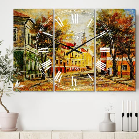 Designart 'Ancient Vitebsk in Autumn' Cottage 3 Panels Oversized Wall CLock - 36 in. wide x 28 in. high - 3 panels