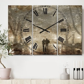 Designart 'Couple Walking in Night Lights' Cottage 3 Panels Large Wall CLock - 36 in. wide x 28 in. high - 3 panels