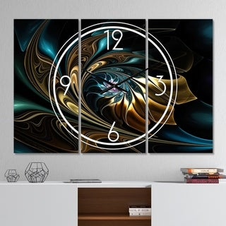 Designart 'Brown Blue Fractal Flower in Black' Modern 3 Panels Oversized Wall CLock - 36 in. wide x 28 in. high - 3 panels