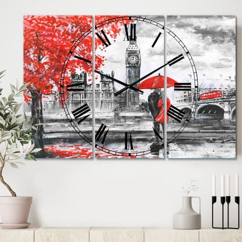 Designart 'Couples Walking in London' Cottage 3 Panels Oversized Wall CLock - 36 in. wide x 28 in. high - 3 panels