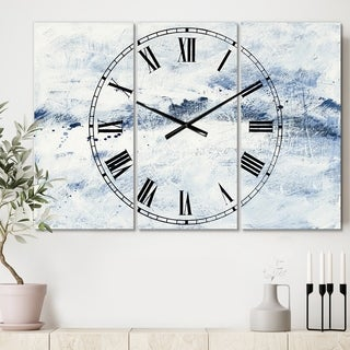 Designart 'Blue Wipe Out' Cottage 3 Panels Oversized Wall CLock - 36 in. wide x 28 in. high - 3 panels