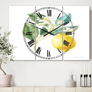 Designart 'Floursack Lemon I' Cottage 3 Panels Oversized Wall CLock - 36 in. wide x 28 in. high - 3 panels