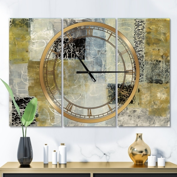 Designart 'Multicolor Twin City' Glam 3 Panels Large Wall CLock - 36 in. wide x 28 in. high - 3 panels