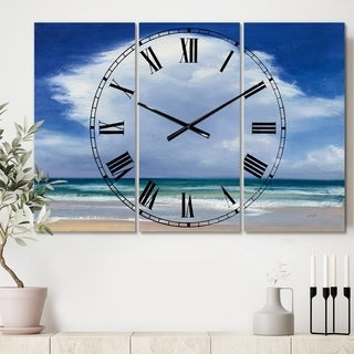 Porch & Den 'Beach Clouds II' 3-panel Metal Clock