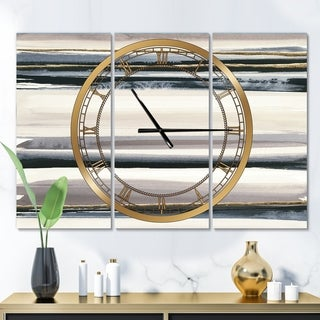 Designart 'Gold Watercolor Amethyst II' Glam 3 Panels Large Wall CLock - 36 in. wide x 28 in. high - 3 panels