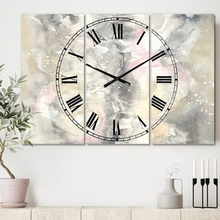 Designart 'Watercolor Snowflakes II' Cottage 3 Panels Oversized Wall CLock - 36 in. wide x 28 in. high - 3 panels