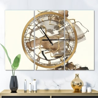 Designart 'Gold Glam Squares III' Glam 3 Panels Oversized Wall CLock - 36 in. wide x 28 in. high - 3 panels