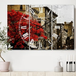 Designart 'Red Tree on Black and White New York City Street' Cottage 3 Panels Large Wall CLock