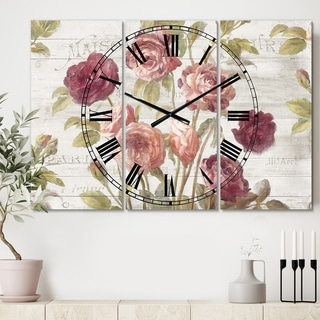 Designart 'French Roses I' Cottage 3 Panels Oversized Wall CLock - 36 in. wide x 28 in. high - 3 panels