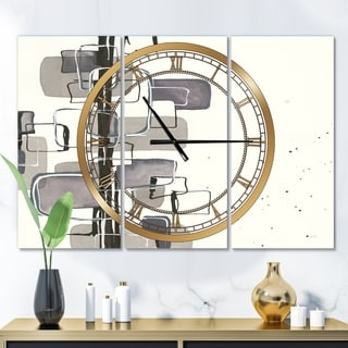 Designart 'Glam Dancing shape IV' Glam 3 Panels Oversized Wall CLock - 36 in. wide x 28 in. high - 3 panels