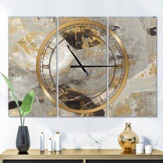 Designart 'Glam Gold Desert Neutral' Glam 3 Panels Large Wall CLock - 36 in. wide x 28 in. high - 3 panels