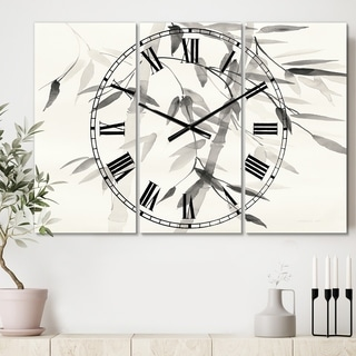 Designart 'Simplist Bamboo Leaves V' Cottage 3 Panels Large Wall CLock - 36 in. wide x 28 in. high - 3 panels