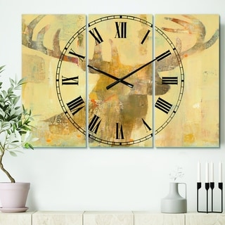 Designart 'Golden Deer I' Cottage 3 Panels Oversized Wall CLock - 36 in. wide x 28 in. high - 3 panels