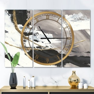 Designart 'Glam Printed Arcs II' Glam 3 Panels Oversized Wall CLock - 36 in. wide x 28 in. high - 3 panels