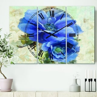 Designart 'Blue Anemone Flower' Cottage 3 Panels Oversized Wall CLock - 36 in. wide x 28 in. high - 3 panels